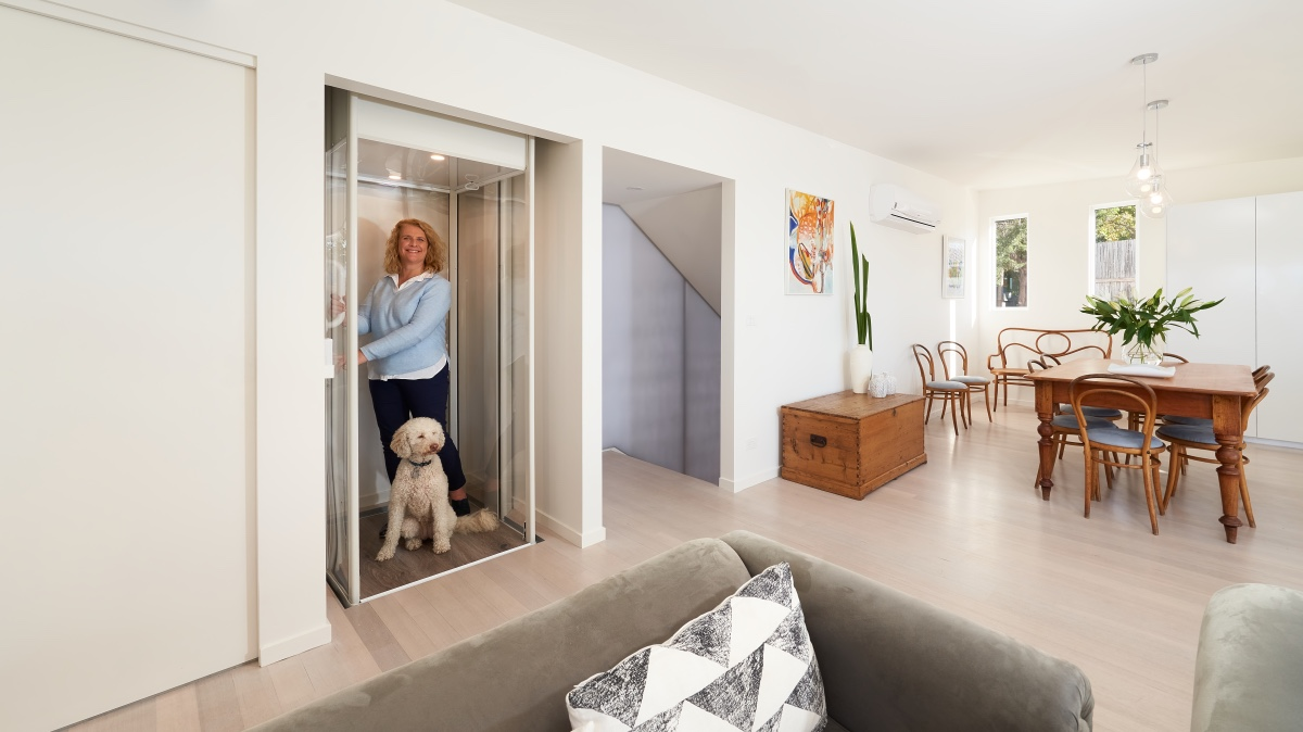 Jane in Lift with Dog Upstairs (0037) web version