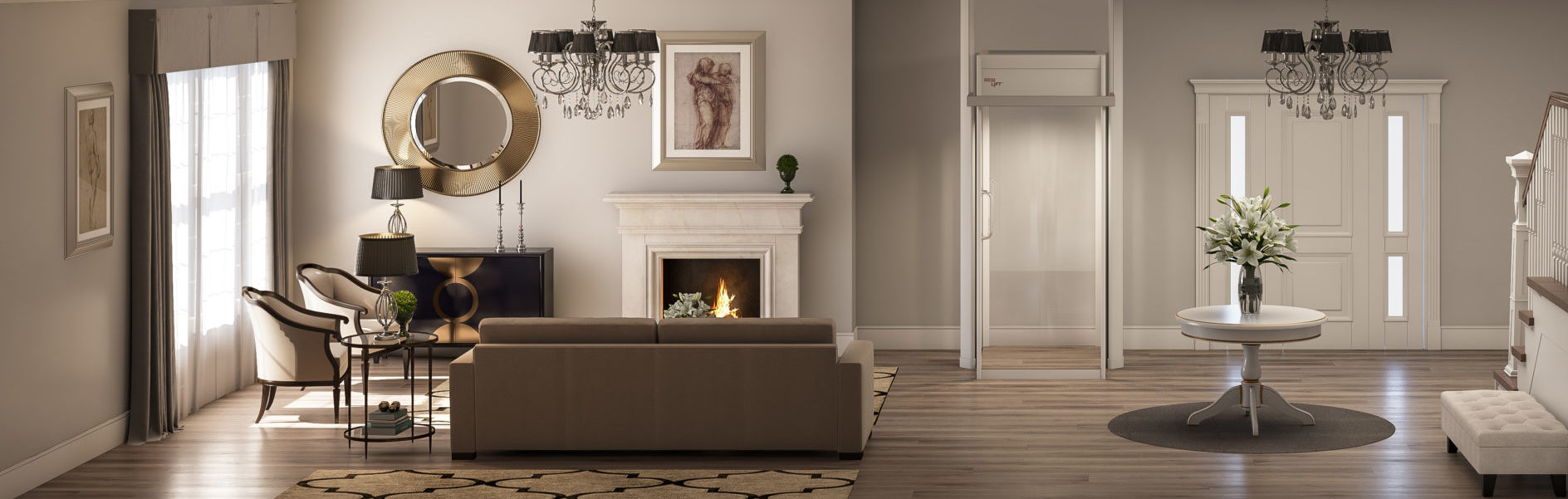 Miracle Max fireplace lower level